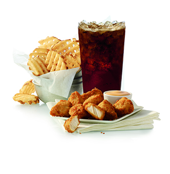 Photo of nuggets, fries, drink