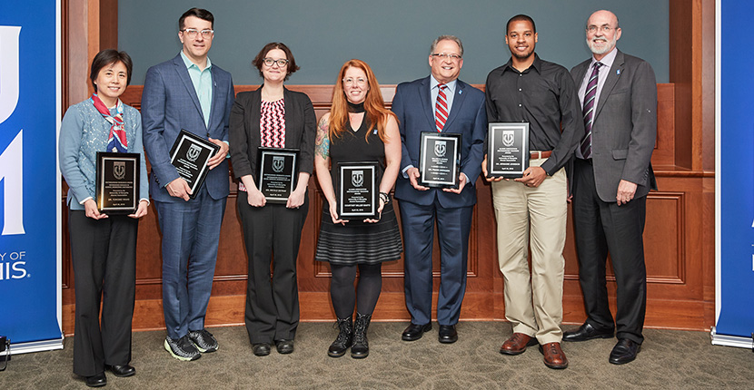 Arts & Sciences faculty received several distinguished awards at the Alumni Association Faculty Award Luncheon.