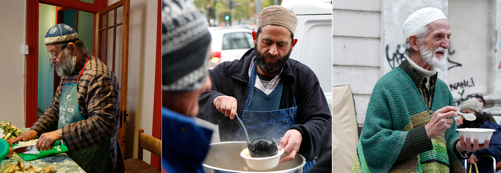 Preparation, delivery, and distribution of food to homeless and poor Chileans in Santiago by Muslim converts