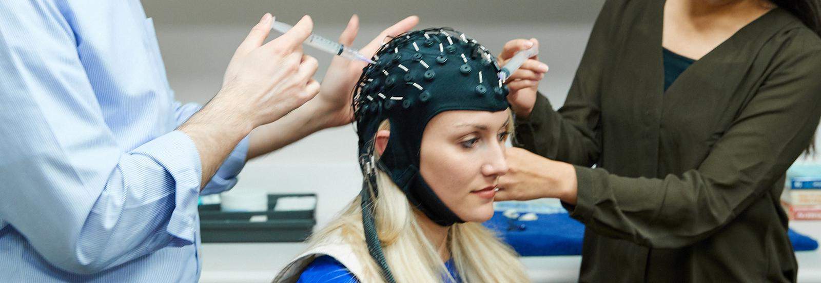 Subject with EEG cap