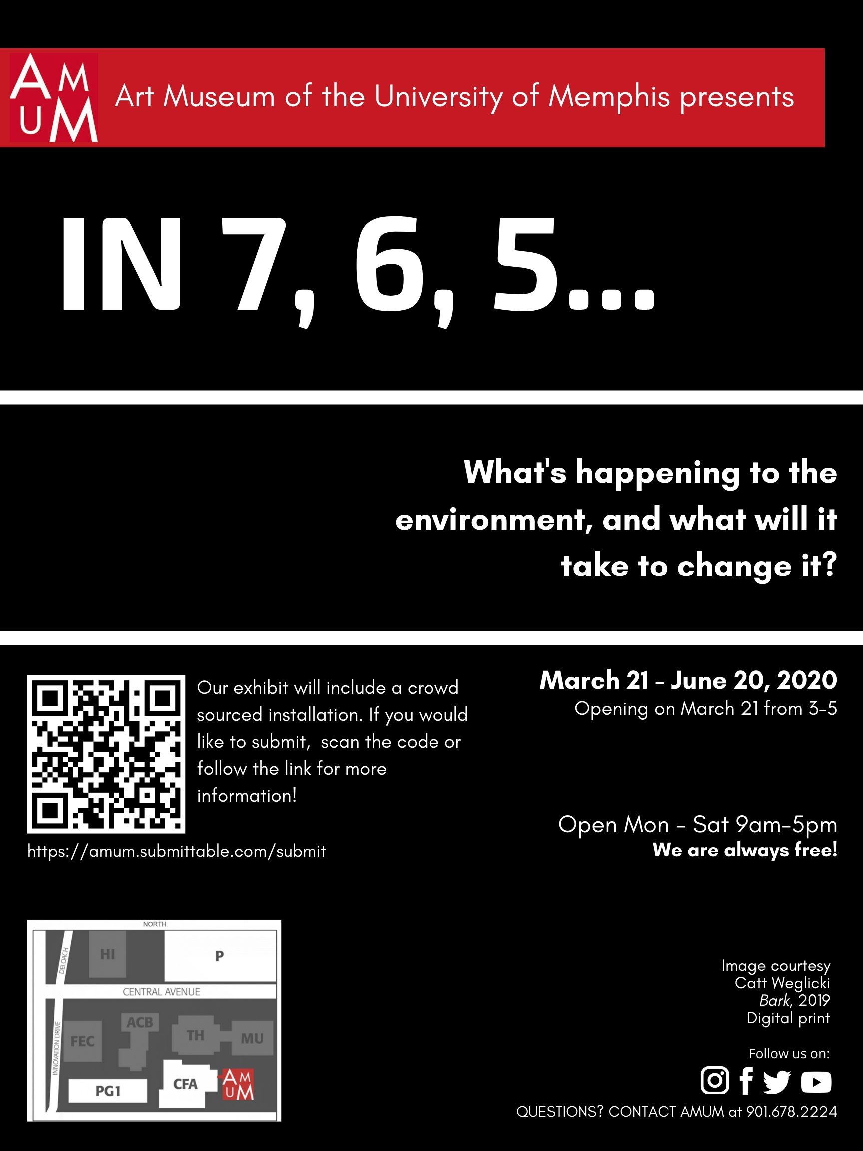 In 7, 6, 5... What's happening to the environment, and what will it take to change it? March 21 - June 20, 2020 Opening on March 21 from 3-5