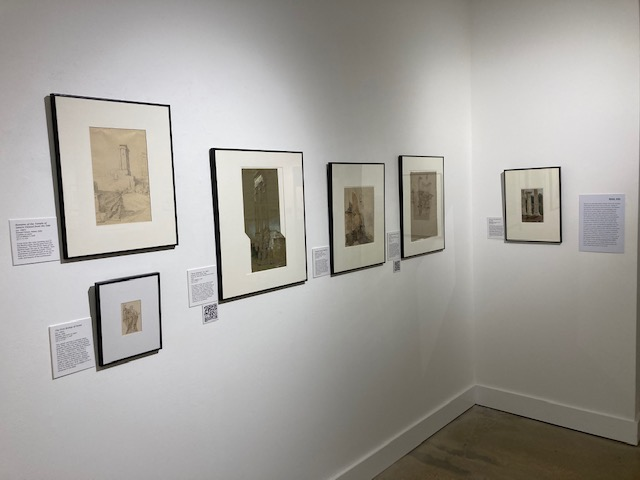 installation view of Sketching Europe Exhibition in Samuel Hester Crone Gallery
