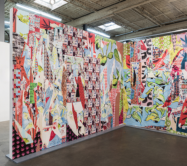 """Meredith Olinger Room#1 Reconfigured Wallpaper, Wall Liner, Acrylic, Latex, and Marker on Panel 96"""" x 144 x 16 inches"""