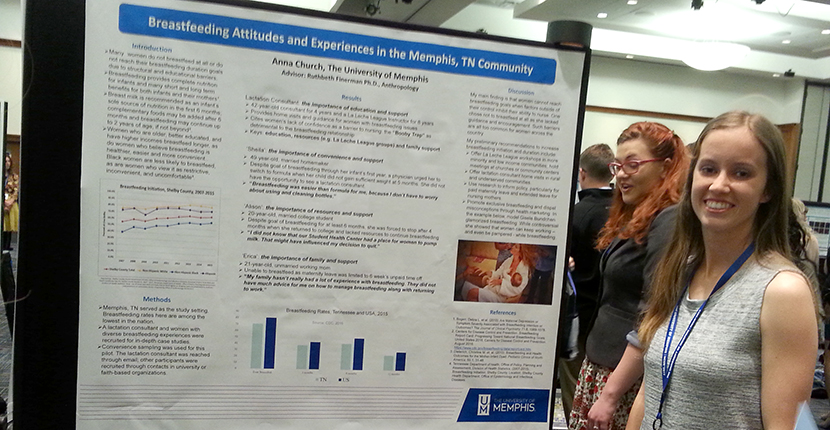 Undergraduate Student Anna Cash presents her poster at the National Conference on Undergraduate Research (NCUR) at the UofM campus
