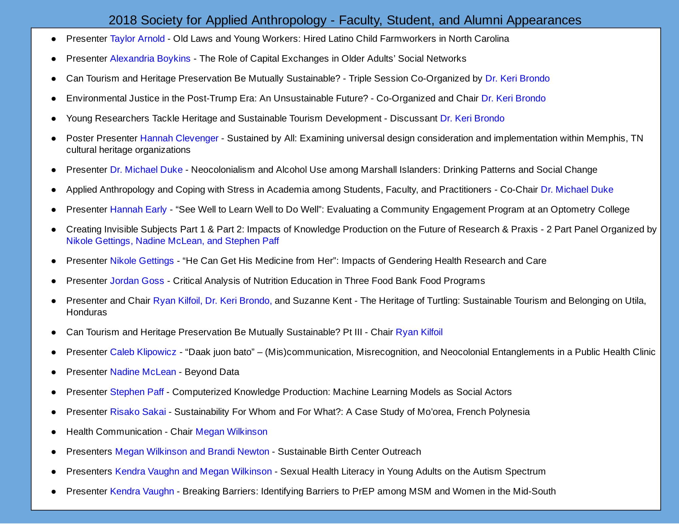 2018 SfAA List