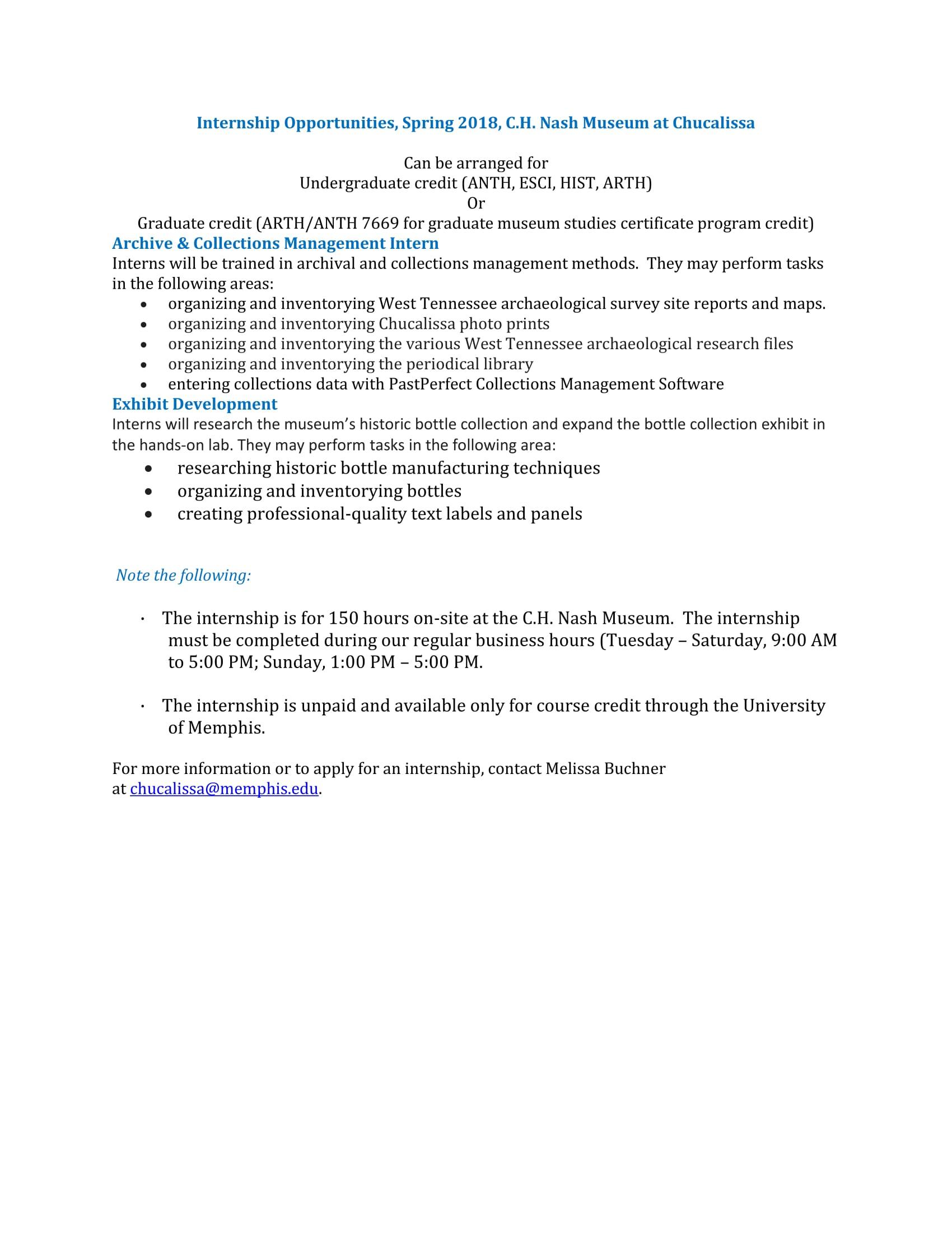 Spring 2018 Chucalissa Interships