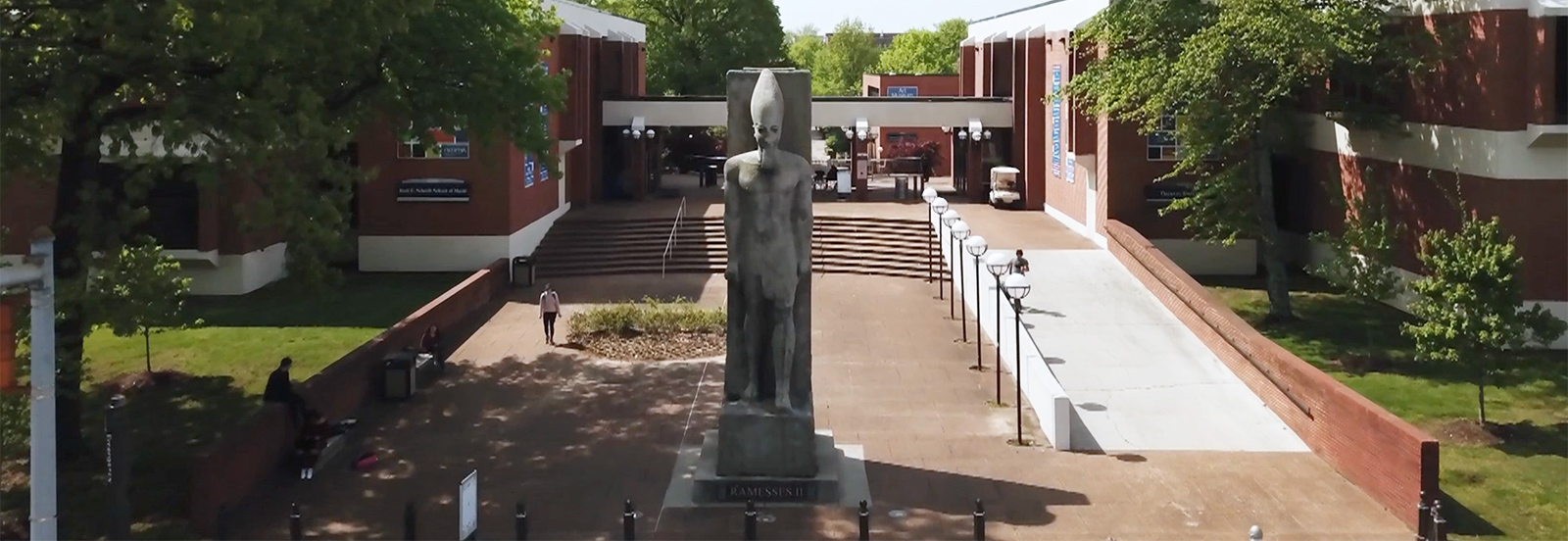 Ramesses statue on campus