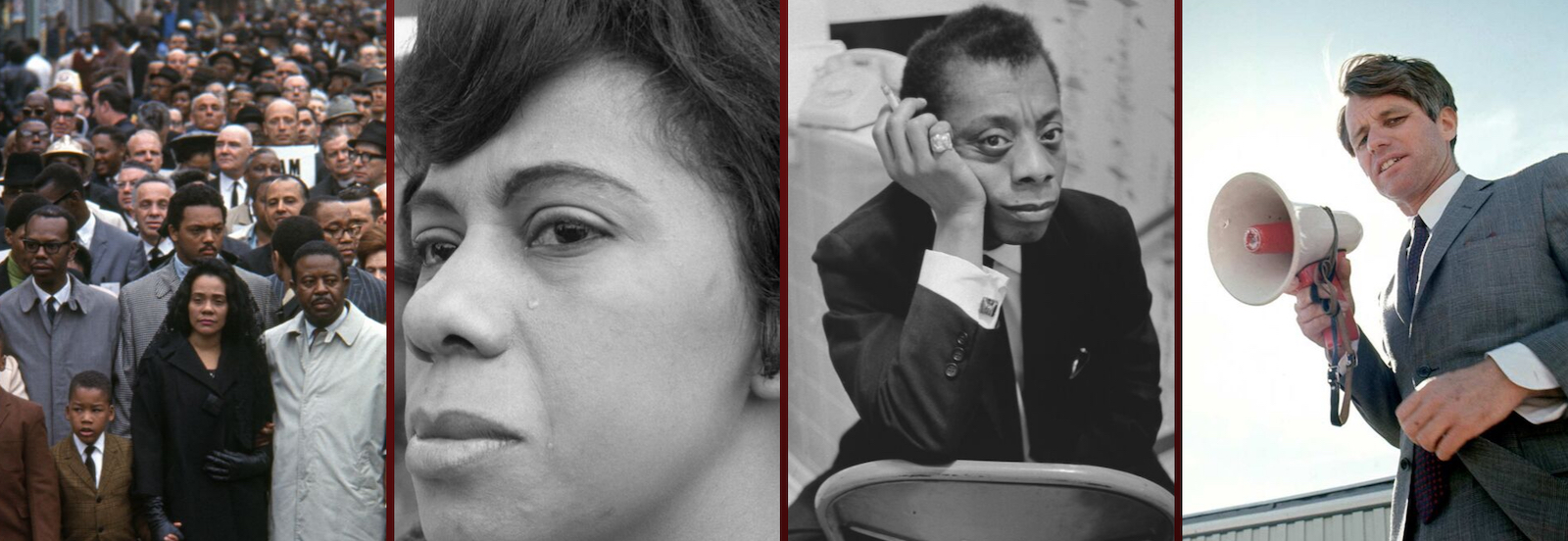 Left photo: Coretta Scott King leads a silent march of tens of thousands of national mourners from Clayborn Temple to City Hall. April 8, 1968. Center left photo: April 1968. Minerva Johnican grieves the death of Dr. Martin Luther King. Johnican went on to be a pioneer in her own right in Memphis, becoming actively involved in politics, running for mayor of Memphis in 1987. Center right photo: James Baldwin, circa 1961, a novelist and playwright, who was also a formidable civil rights activist who inspired other artists and the public to challenge segregationist laws and practices in America through his writings, public speaking and other forms of activism. Right photo: Robert F. Kennedy on the Campaign trail (1960). All photos: © Art Shay Archives Project, LLC 2019 | All rights reserved.