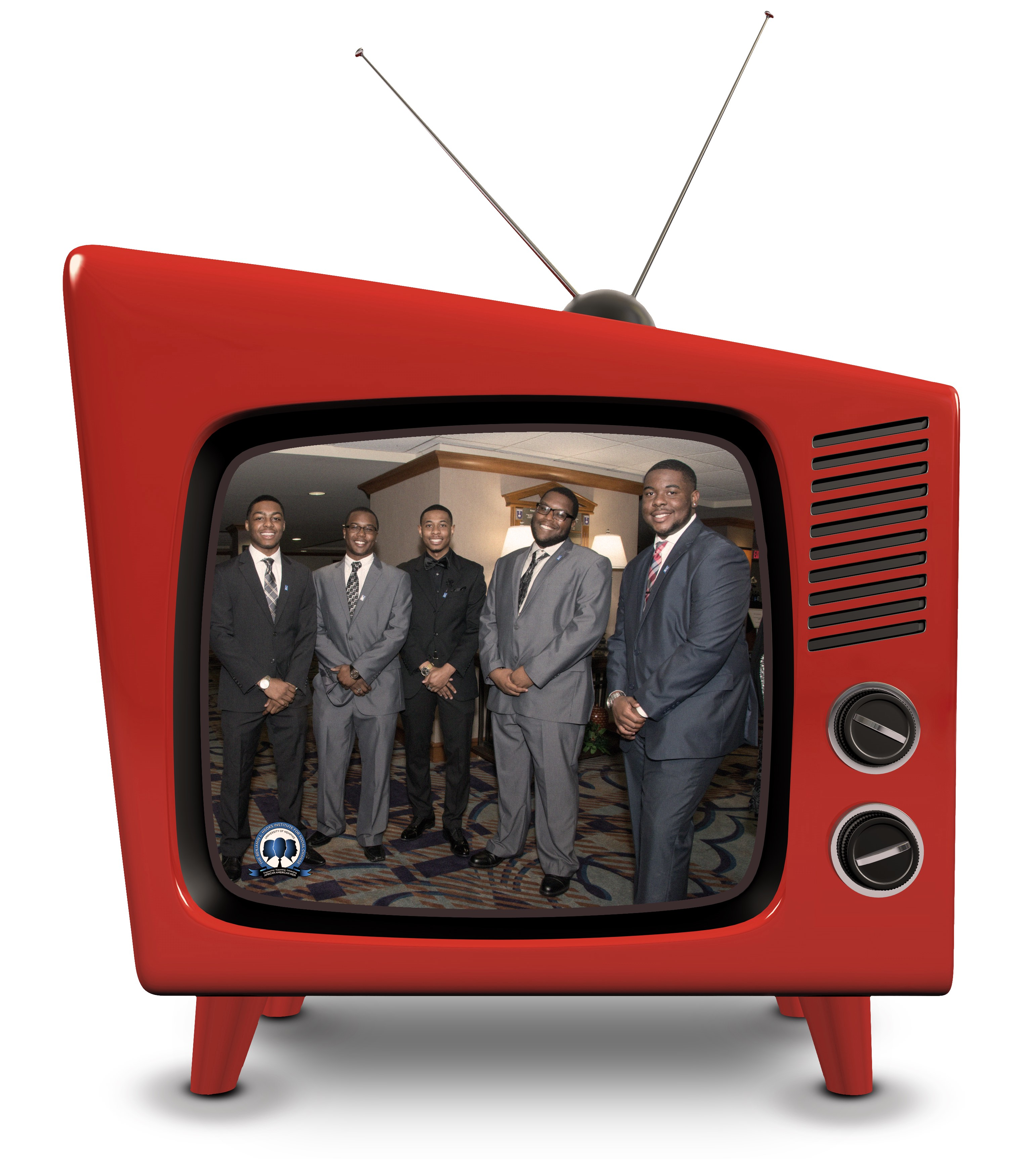 Hooks African American Male Initiative members inside retro television.