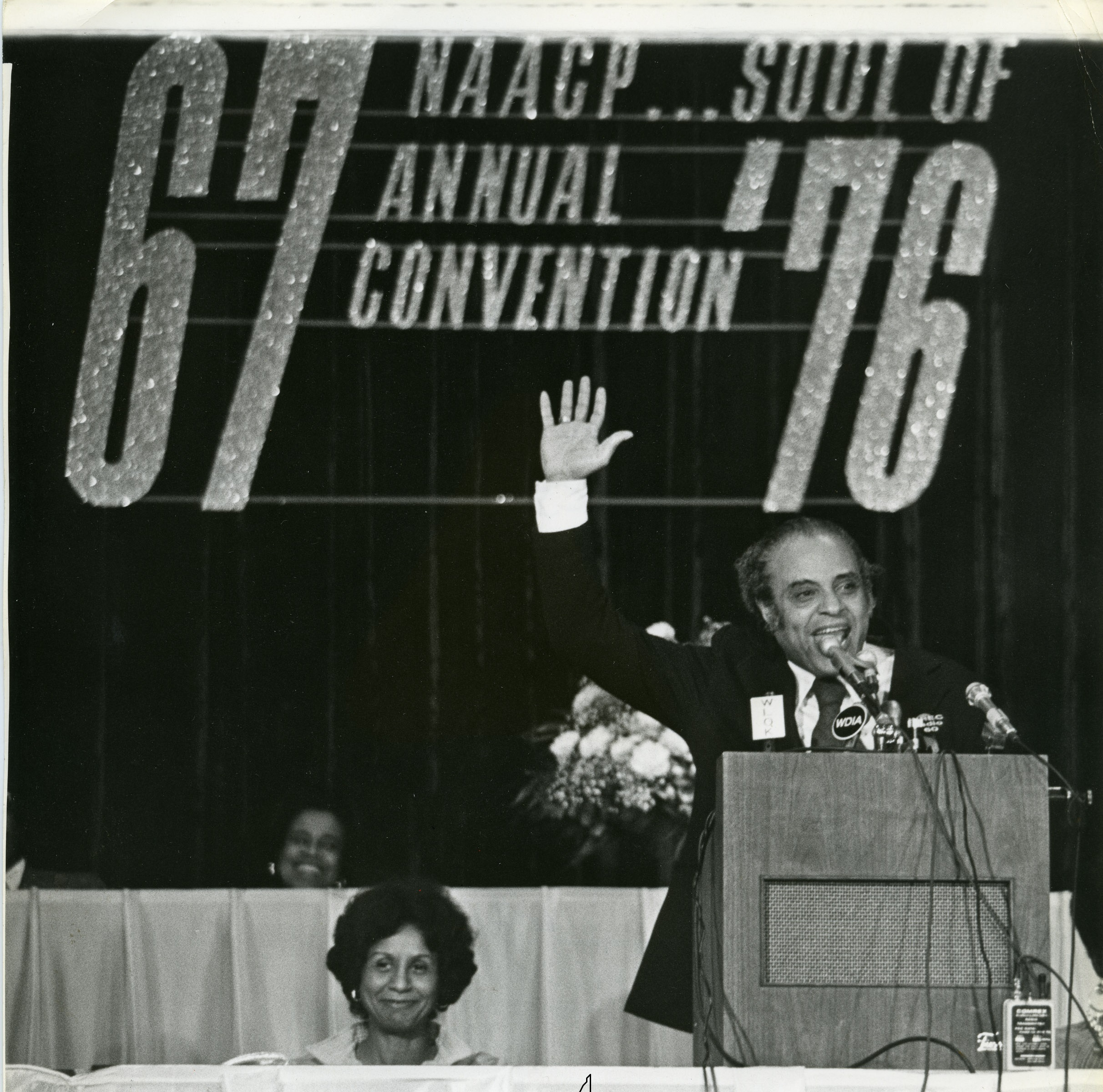 Benjamin Hooks speaks at 67th NAACP Convention in Memphis in 1976.