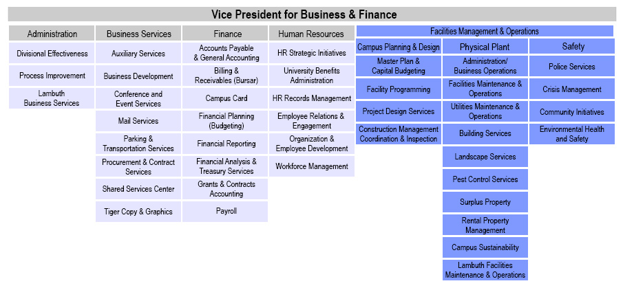 Organizational Charts - Division Of Business And Finance