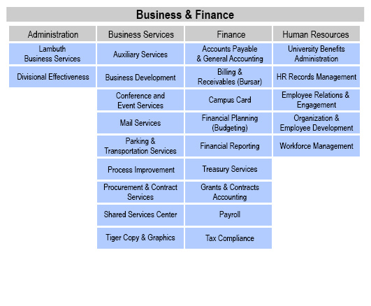 organizational charts division of business and finance