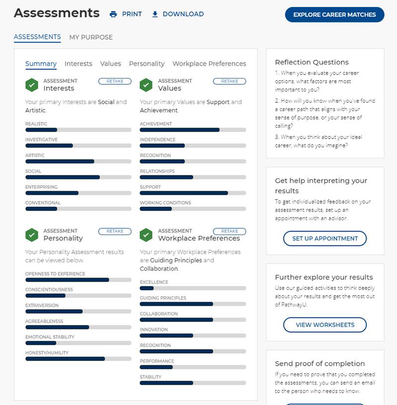 PathwayU Assessments