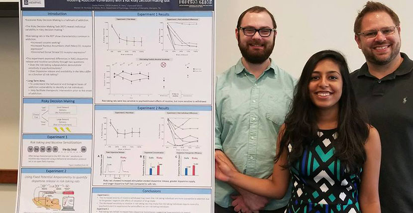 CRESH winner Sneha Sharma in center with Psychology Graduate StudentsDaniel Gabriel on the left and Dr. Nick Simon on the right