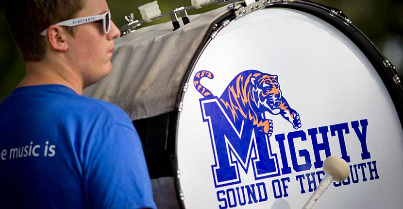 Mighty Sound of the South bass drum player