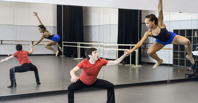 Dance students rehearse on campus