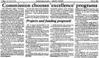 Commission chooses 'excellence' programs news article