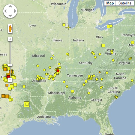 Recent earthquakes map