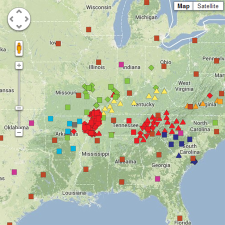 Seismic Information CERI University Of Memphis - Us earthquake map