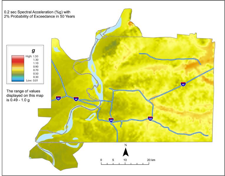 Memphis Hazard Map - 2% in 50 years SA 0.2