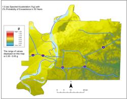 Memphis Hazard Map - 2% in 50 years SA 1.0