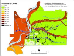Memphis Hazard Map - 2% in 50 years LPI >15