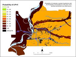 Memphis Hazard Map - 2% in 50 years LPI >5