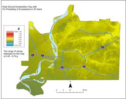 Memphis Hazard Map - 2% in 50 years PGA