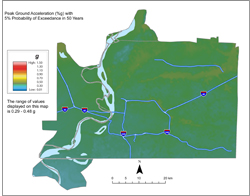 Memphis Hazard Map - 5% in 50 years PGA