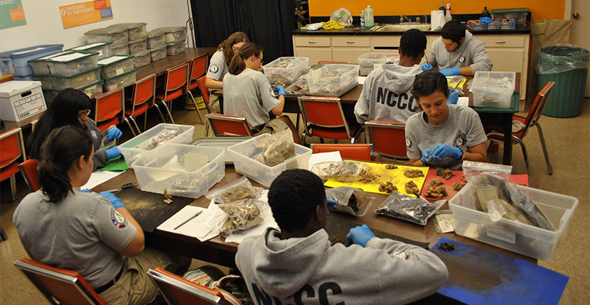 Artifact sorting on Chucalissa Volunteer Day. Volunteer Day is the 3rd Saturday each month.