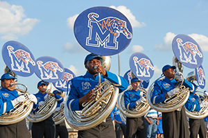 megaphone with University of Memphis logo