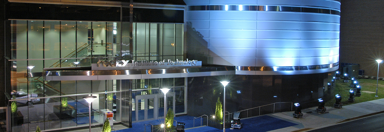 FedEx Institute of Technology building lighting at night