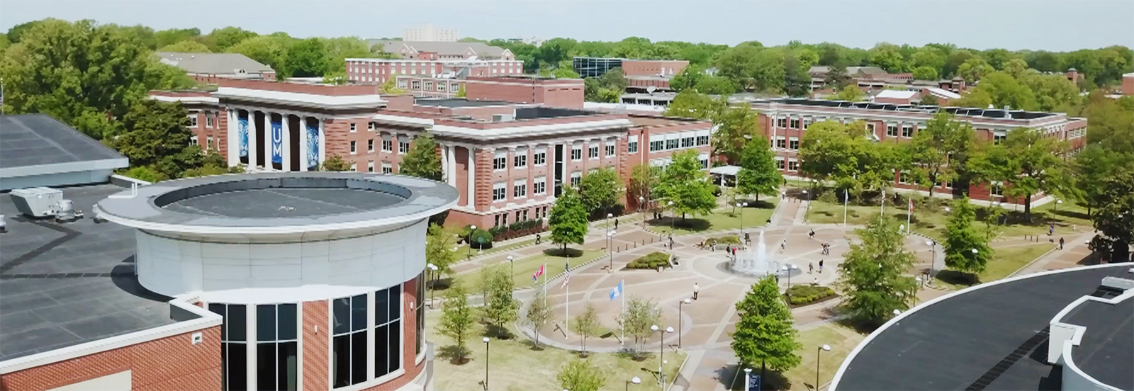 An aerial photo of the University of Memphis central plaza and fountain