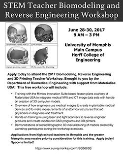 STEM Teacher Biomodeling and Reverse Engineering Workshop
