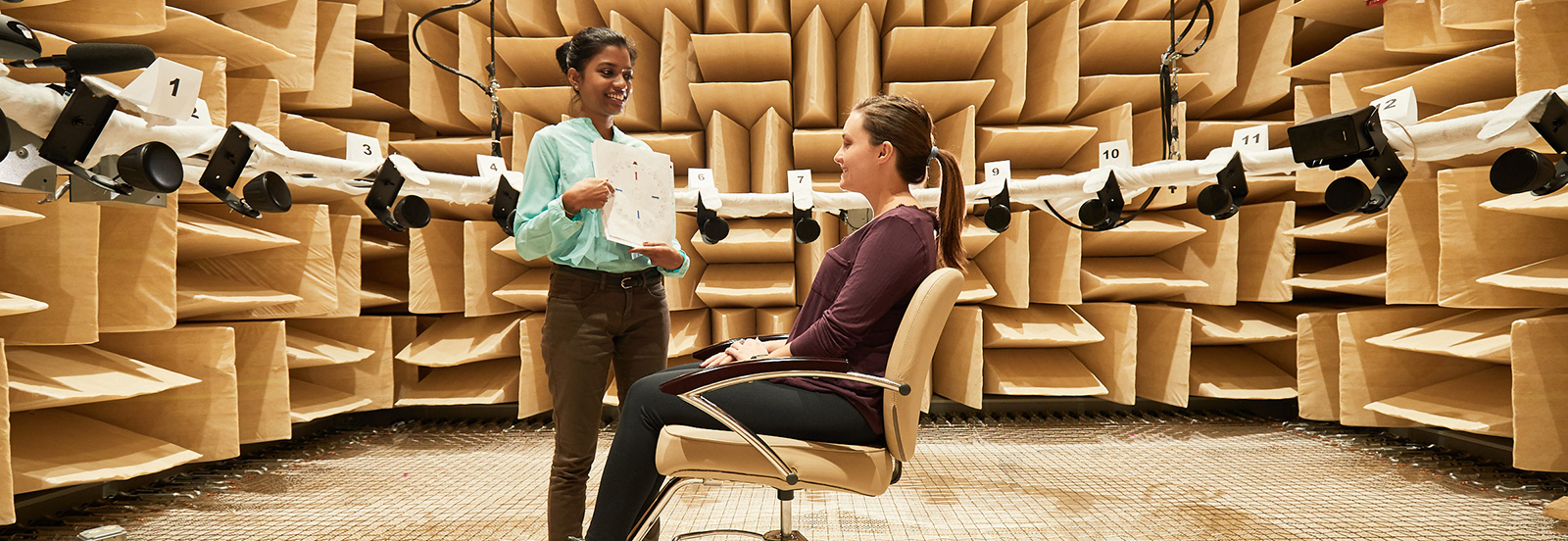 students in anechoic chamber