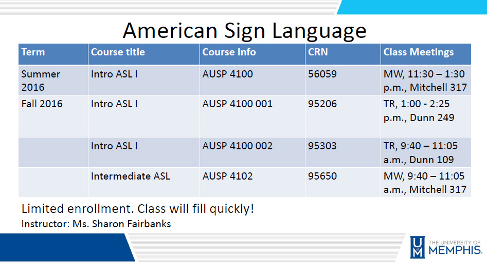 ASL course schedule 2016