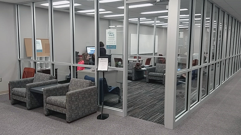 Center For Writing and Communication glass enclosure area