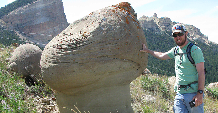 Graduate student Graham Ellsworth at heart Mountain, Wyoming, M.S. field research