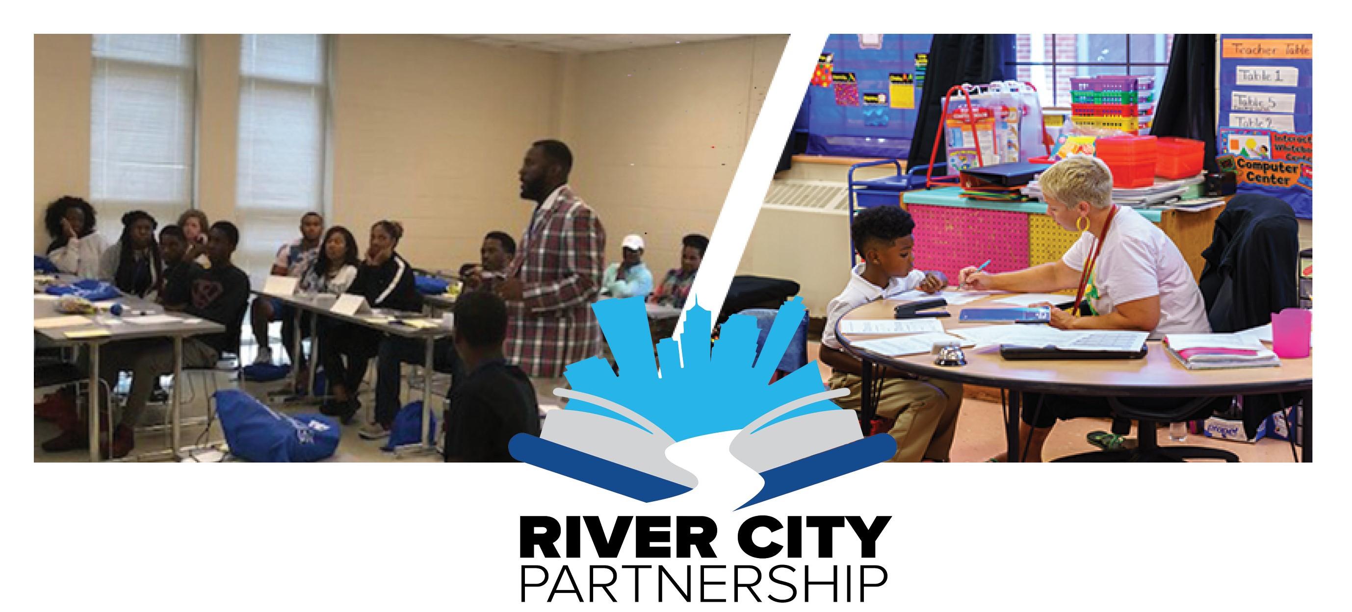 River City Summer bridge students, SCS classroom, and River City logo