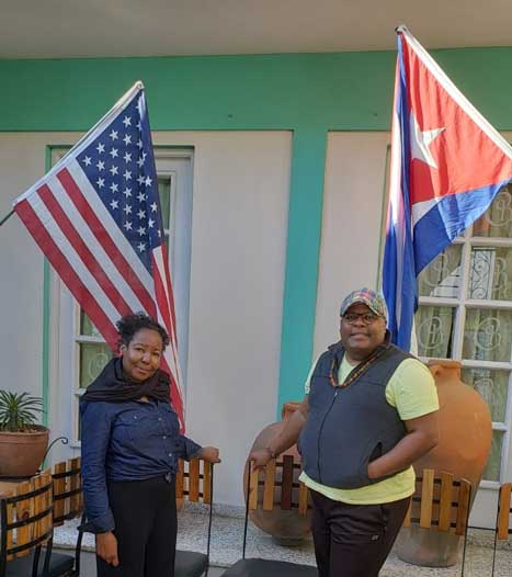 Cross and Wright with Cuban flag