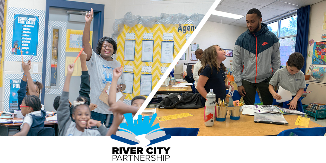 River City Summer bridge students, SCS classroom, and River City logo