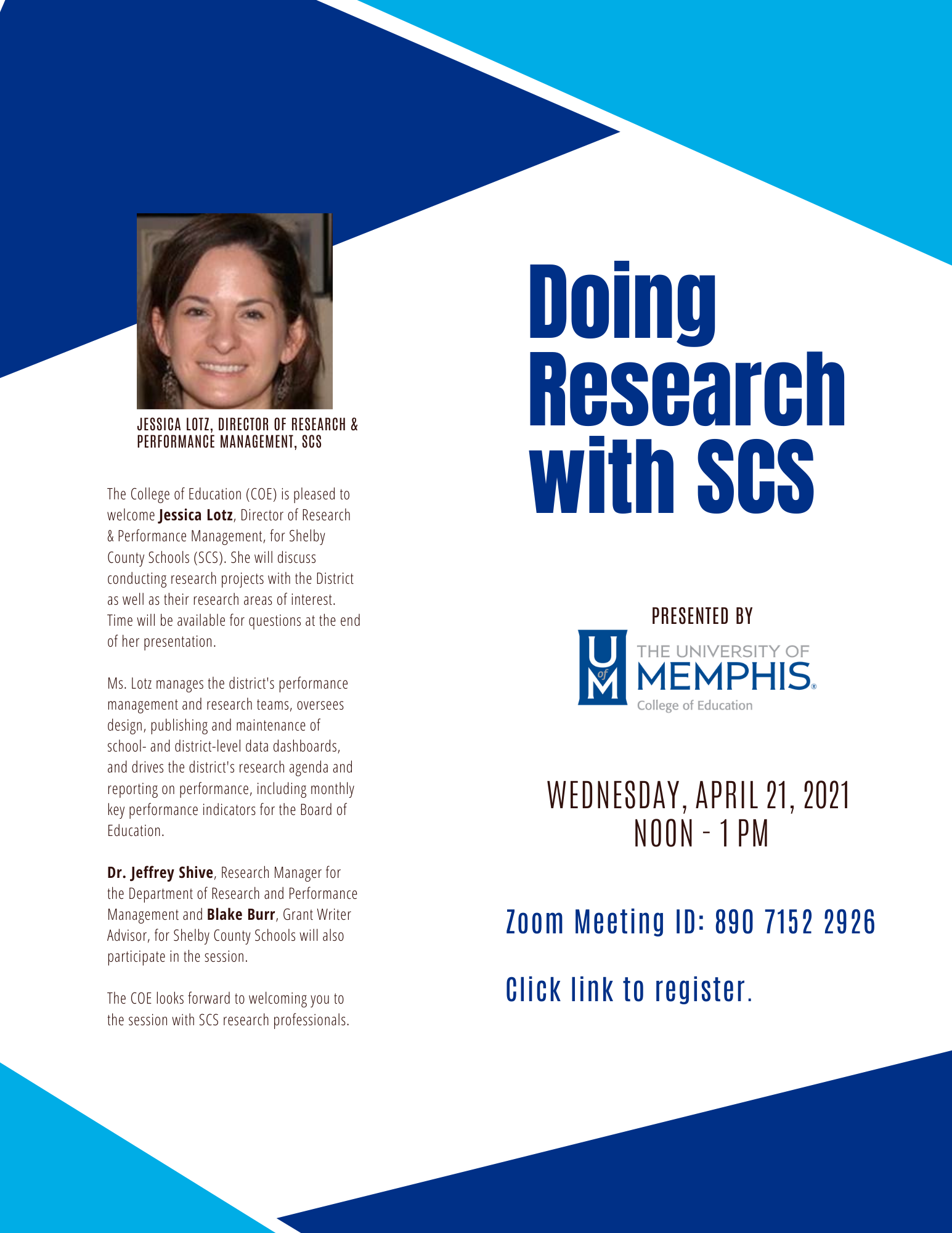 Doing Research with SCS with Jessica Lotz, Director of Research at SCS on April 21, 2021 via zoom. Click the link to register.