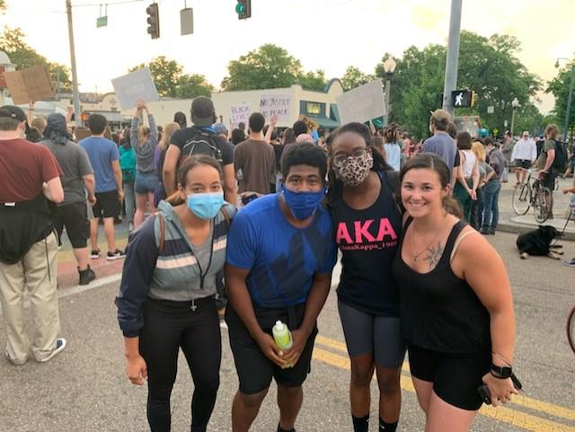 Students at a black lives matter demonstration