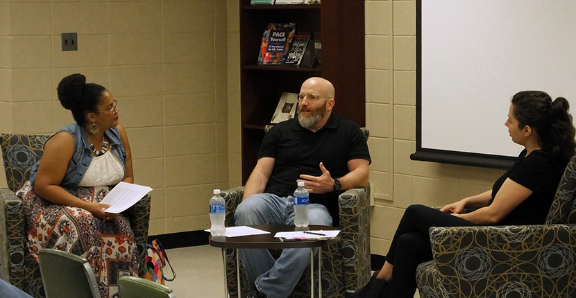 Meet Renowned Authors and Scholars at Departmental Events Author Bob Cowser workshops with students as part of the River City Writers Series.