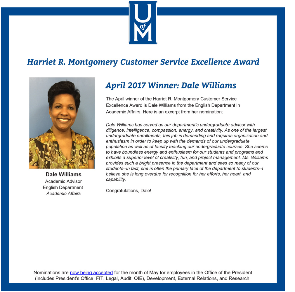 Dale Williams Customer Service Award