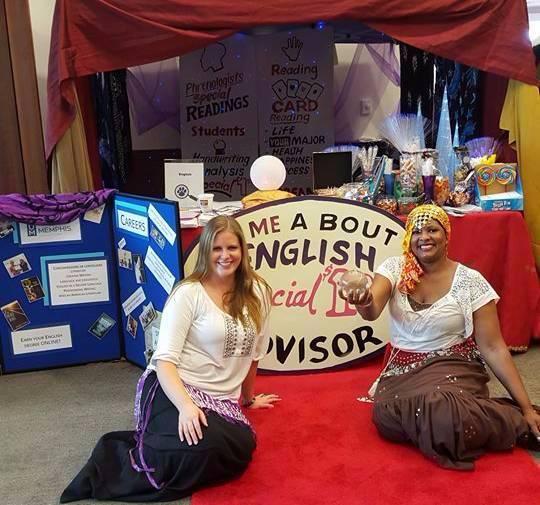 Dale Williams and Lauren Walker dress as fortune-tellers.
