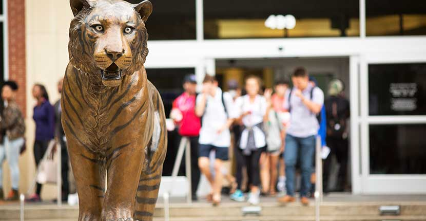 Bronze statue of Tom, the UofM tiger mascot in front of University Center entrance