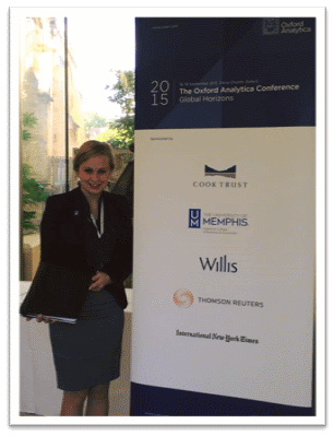 Rebecca Koch, current FCBE International MBA student, attending one of the Oxford Analytica Global Horizons Conference sessions