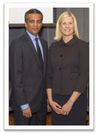 Rajesh Subramaniam, Distinguished Friend; Melanie Carpenter, Outstanding Young Alumna