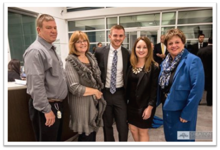 Greg Snook (center), 2015 SPARK Award winner, pictured with his parents, Ronald and Kathy Snook (left), and his friends, Brandi Kee and Dr. Kathy Tuberville (right).